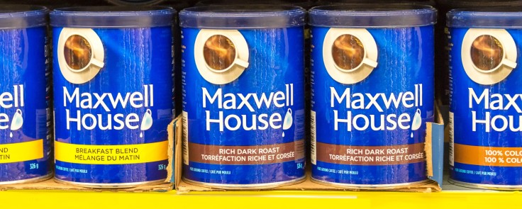 Maxwell House Coffee Cans in Store Shelf
